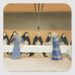 St. Dominic and his Companions Fed by Angels Square Sticker