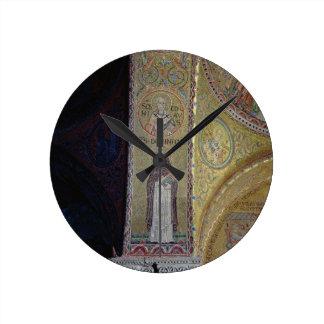 St. Dominic and St. Nicholas, mosaic in the atrium Round Clock