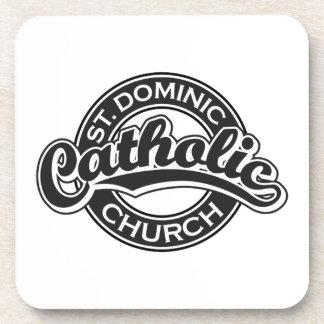 St. Dominic Catholic Church Black and White Beverage Coaster
