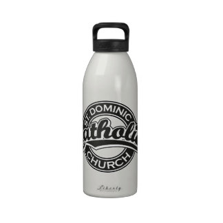 St Dominic Catholic Church Black and White Reusable Water Bottles