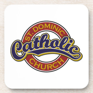 St. Dominic Catholic Church Blue on Red Coasters