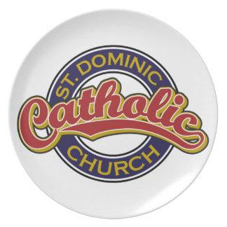 St. Dominic Catholic Church Red on Blue Melamine Plate