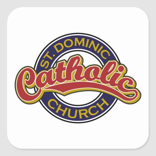 St. Dominic Catholic Church Red on Blue Square Sticker