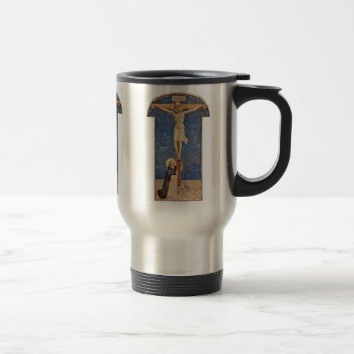 St Dominic en la cruz de Cristo por Angelico Fra Taza De Viaje De Acero Inoxidable