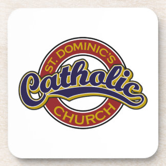 St. Dominic's Catholic Church Blue on Red Drink Coaster