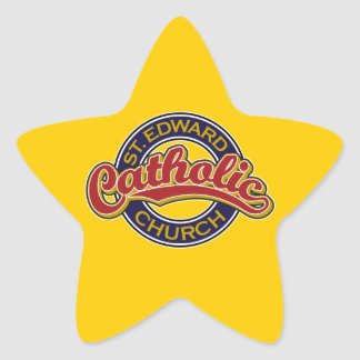 St. Edward Catholic Church Red on Blue Star Sticker