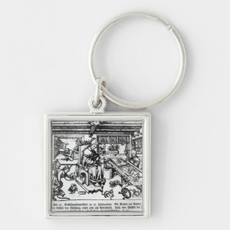 St. Eligius  as a goldsmith in his workshop Silver-Colored Square Keychain