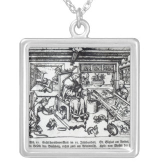 St. Eligius  as a goldsmith in his workshop Silver Plated Necklace