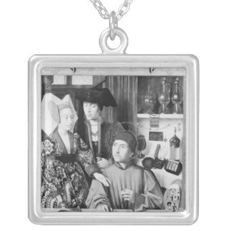 St. Eligius as a goldsmith Silver Plated Necklace