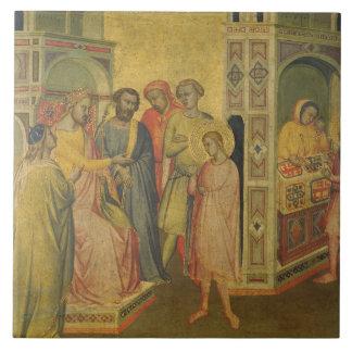 St. Eligius before King Clothar, c.1365 (oil on pa Ceramic Tile