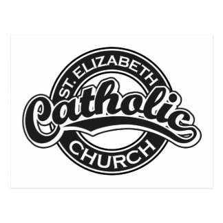 St. Elizabeth Catholic Church Black and White Postcard