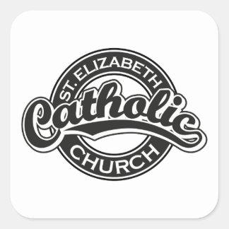 St. Elizabeth Catholic Church Black and White Square Sticker