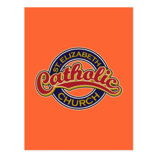 St. Elizabeth Catholic Church Red on Blue Postcard