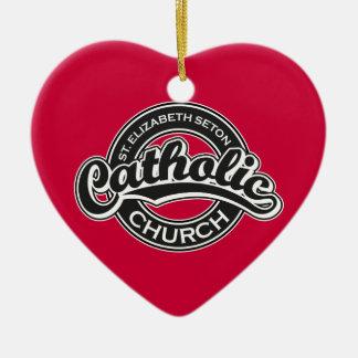 St. Elizabeth Seton Catholic Church Black White Double-Sided Heart Ceramic Christmas Ornament