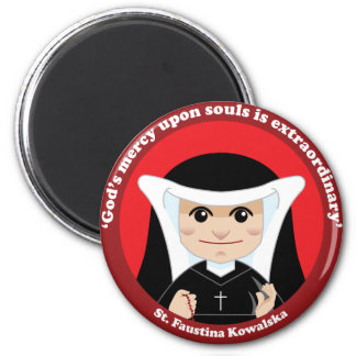 St. Faustina Kowalska 2 Inch Round Magnet