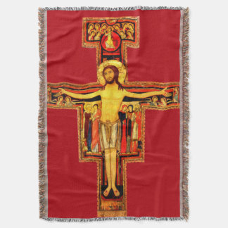 St Frances of Assisi San Damiano Crucifix Blanket Throw Blanket