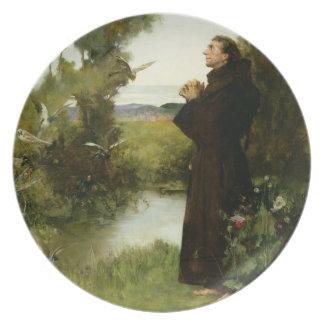 St Francis, 1898 (aceite en lona) Plato