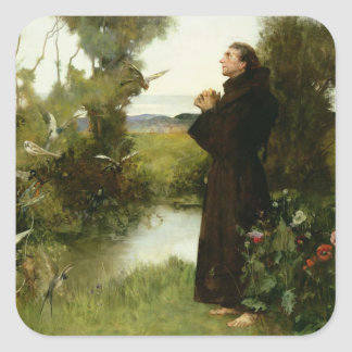 St. Francis, 1898 (oil on canvas) Square Sticker