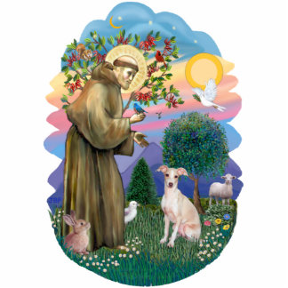 St Francis 2B - Itlaian Greyhound (fawn) Statuette