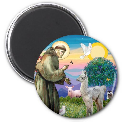 St Francis and Llama Baby 2 Inch Round Magnet
