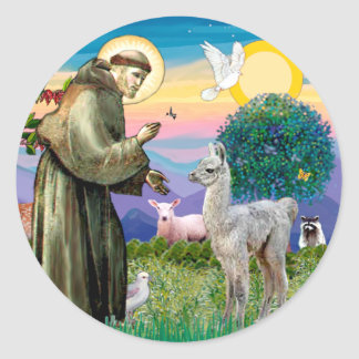 St Francis and Llama Baby Classic Round Sticker