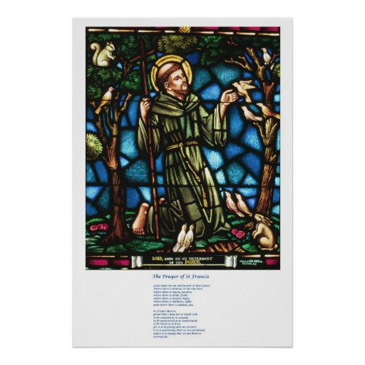 St Francis and the St Francis Peace Prayer Poster