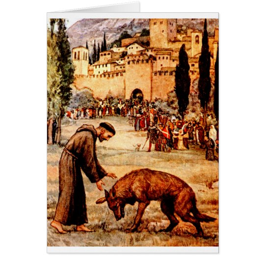 St Francis and the Wolf Card