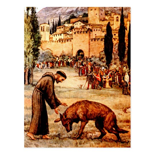 St Francis and the Wolf Postcard