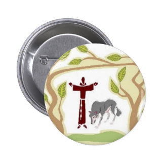 St. Francis and The Wolf tie, gift box, chain etc 2 Inch Round Button