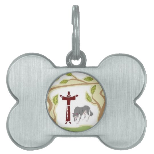 St. Francis and The Wolf tie, gift box, chain etc Pet Name Tag