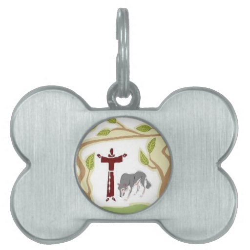 St. Francis and The Wolf tie, gift box, chain etc Pet Tags