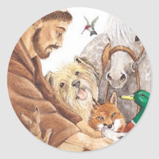 St. Francis & Animals, hat, pin, keychain, pet tag Classic Round Sticker