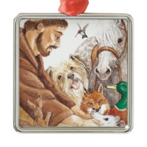 St. Francis & Animals, hat, pin, keychain, pet tag Metal Ornament