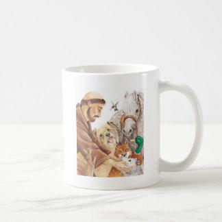 St. Francis & Animals, hat, pin, keychain, pet tag Classic White Coffee Mug