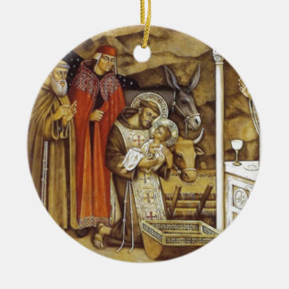 St Francis at the Nativity, mug key chain iPhone Christmas Tree Ornaments