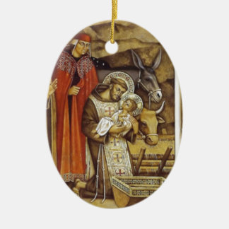 St Francis at the Nativity, mug key chain iPhone Double-Sided Oval Ceramic Christmas Ornament