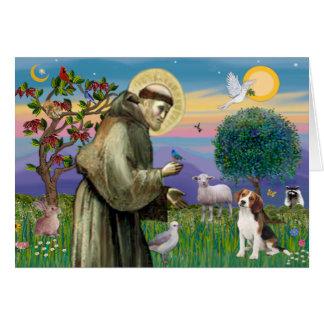 St Francis - beagle 1 Tarjeta De Felicitación