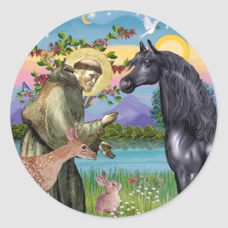 St Francis - Black Arabian Horse Round Stickers