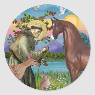 St Francis - Brown Arabian Horse Sticker