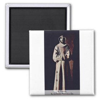 St. Francis,  By Zurbarán Francisco De 2 Inch Square Magnet