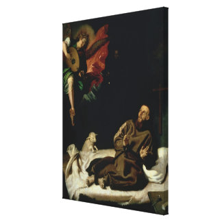 St. Francis comforted by an Angel Musician Canvas Prints