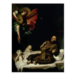 St. Francis comforted by an Angel Musician Postcard