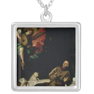 St. Francis comforted by an Angel Musician Silver Plated Necklace