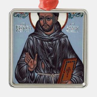 St Francis con el libro, caja del teléfono, Adorno Navideño Cuadrado De Metal