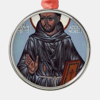 St Francis con el libro, caja del teléfono, Adorno Navideño Redondo De Metal