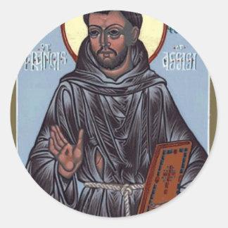 St Francis con el libro, caja del teléfono, Pegatina Redonda