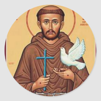 St Francis con la paloma Etiqueta Redonda