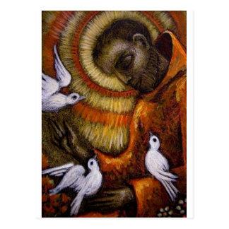 St Francis con las palomas, postal, taza, gorra, Tarjetas Postales