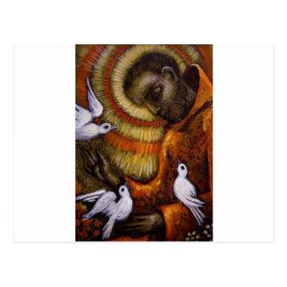 St Francis con las palomas, postal, taza, gorra,