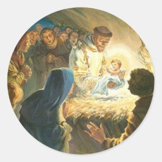 St Francis con natividad del regalo del navidad de Etiquetas Redondas